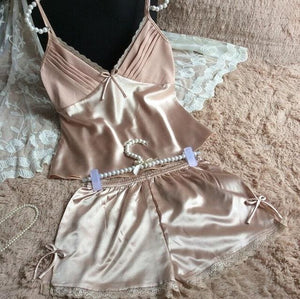 2016 Summer Style Pajamas Sets Women Female Sleep Set Womens Deep V-Neck Sexy Spaghetti Strap As The Photo Show 2 / M