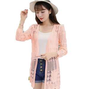 2017 Ladies Crochet Tops Summer Hollow Out Knitted Sweaters Cardigan Rebecas Mujer Fashion Women