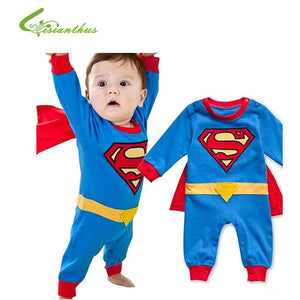 Baby Boy Romper Superman Long Sleeve with Smock Halloween Christmas Costume Gift Boys Rompers Spring