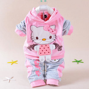 Baby Girls Clothing Set Cartoon Hello Kitty 2016 Winter Autumn Children Clothing Casual Tracksuits