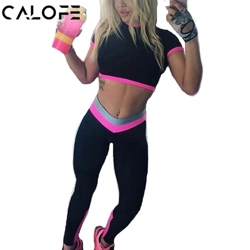 Calofe Two Piece Sport Suit Women Yoga Set Short Sleeve Crop Top And Leggings Sexy Yoga Wear Fitness