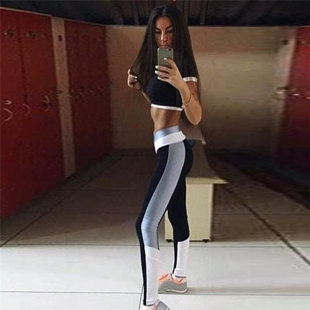 CALOFE Two Piece Sport Suit Women Yoga Set Short Sleeve Crop Top and Leggings Sexy Yoga Wear Fitness grey / S