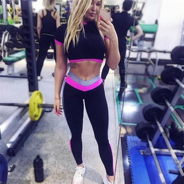 CALOFE Two Piece Sport Suit Women Yoga Set Short Sleeve Crop Top and Leggings Sexy Yoga Wear Fitness rose / S