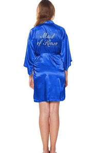 Fashion Silk Bridesmaid Bride Robe Sexy Women Short Satin Wedding Kimono Robes Sleepwear Nightgown As the photo show 9 / S