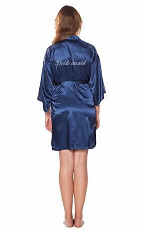Fashion Silk Bridesmaid Bride Robe Sexy Women Short Satin Wedding Kimono Robes Sleepwear Nightgown As the photo show 4 / S