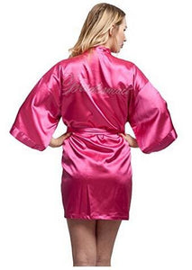 Fashion Silk Bridesmaid Bride Robe Sexy Women Short Satin Wedding Kimono Robes Sleepwear Nightgown As the photo show 16 / S