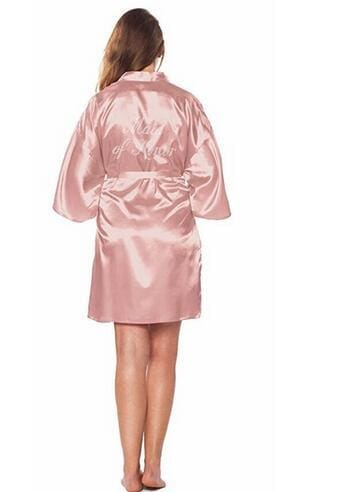 Fashion Silk Bridesmaid Bride Robe Sexy Women Short Satin Wedding Kimono Robes Sleepwear Nightgown As the photo show 3 / S