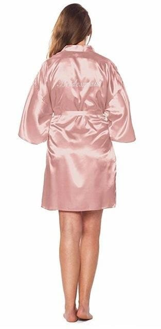 Fashion Silk Bridesmaid Bride Robe Sexy Women Short Satin Wedding Kimono Robes Sleepwear Nightgown
