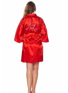 Fashion Silk Bridesmaid Bride Robe Sexy Women Short Satin Wedding Kimono Robes Sleepwear Nightgown As the photo show 12 / S