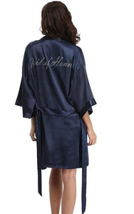 Fashion Silk Bridesmaid Bride Robe Sexy Women Short Satin Wedding Kimono Robes Sleepwear Nightgown As the photo show 8 / S
