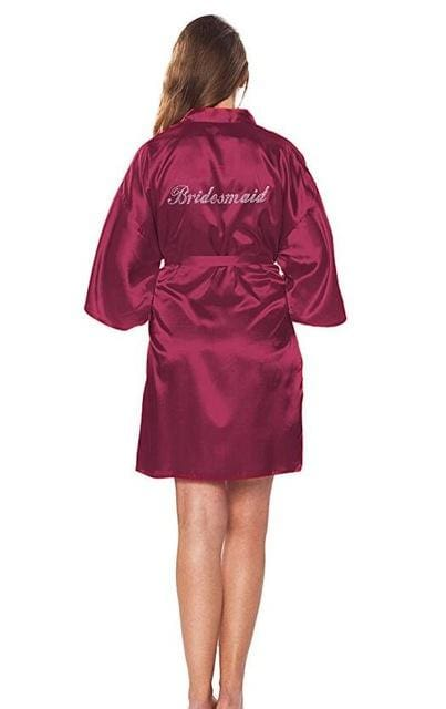 Fashion Silk Bridesmaid Bride Robe Sexy Women Short Satin Wedding Kimono Robes Sleepwear Nightgown As the photo show 5 / S