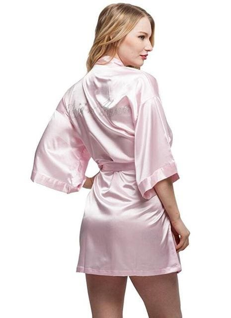 Fashion Silk Bridesmaid Bride Robe Sexy Women Short Satin Wedding Kimono Robes Sleepwear Nightgown As the photo show 17 / S