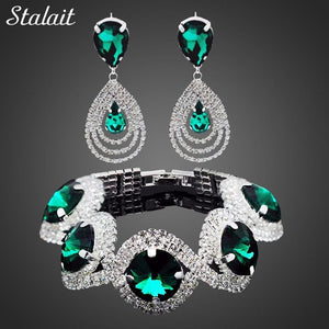 Fashion Wedding Bridal Jewelry Sets For Women Rhinestone Austrian Crystal Jewelry Set Bracelet