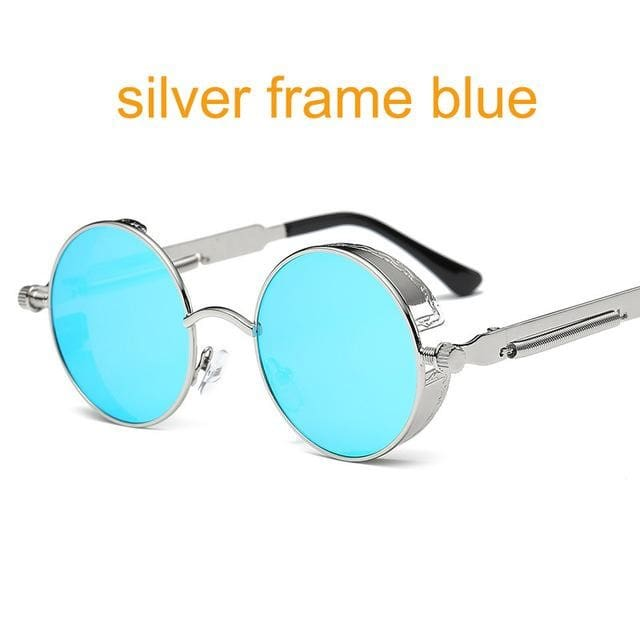 Gothic Steampunk Round Metal Sunglasses For Men Women Mirrored Circle Sun Glasses Brand Designer 6631 Sliver F Blue