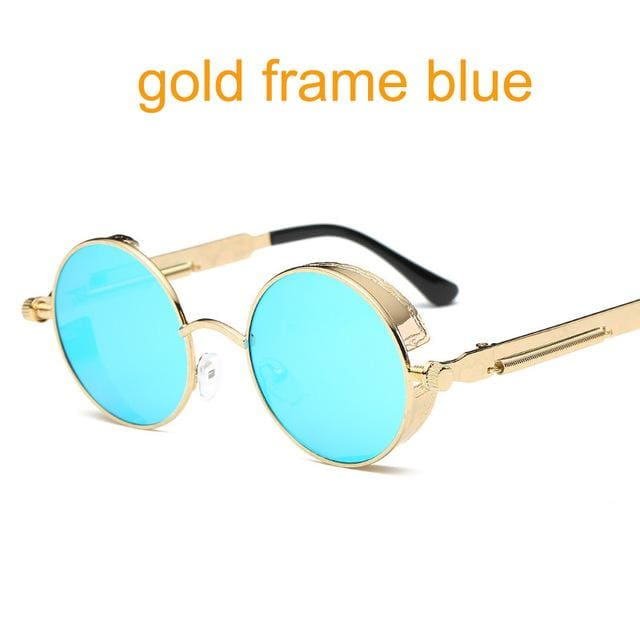 Gothic Steampunk Round Metal Sunglasses For Men Women Mirrored Circle Sun Glasses Brand Designer 6631 Gold F Blue
