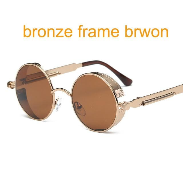 Gothic Steampunk Round Metal Sunglasses For Men Women Mirrored Circle Sun Glasses Brand Designer 6631 Bronze F Brown
