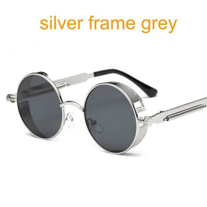 Gothic Steampunk Round Metal Sunglasses For Men Women Mirrored Circle Sun Glasses Brand Designer 6631 Silver F Grey