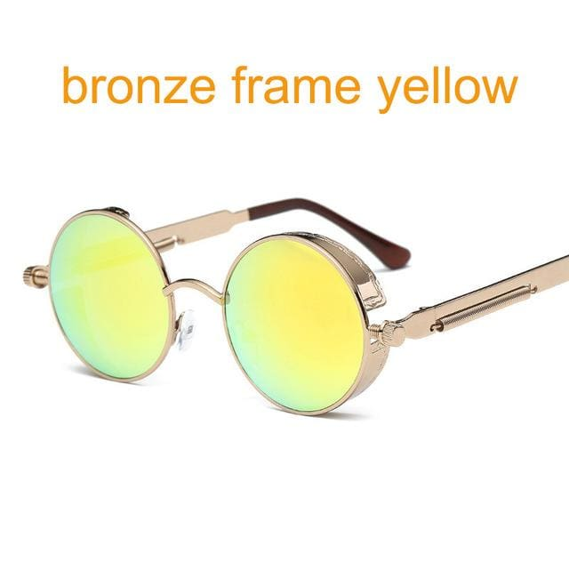 Gothic Steampunk Round Metal Sunglasses For Men Women Mirrored Circle Sun Glasses Brand Designer 6631 Bronze F Yellow
