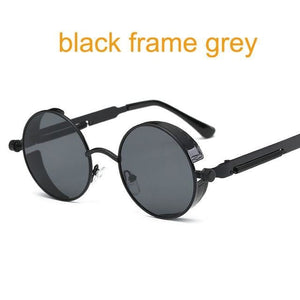 Gothic Steampunk Round Metal Sunglasses For Men Women Mirrored Circle Sun Glasses Brand Designer 6631 Black F Grey
