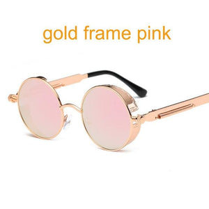 Gothic Steampunk Round Metal Sunglasses For Men Women Mirrored Circle Sun Glasses Brand Designer 6631 Gold F Pink
