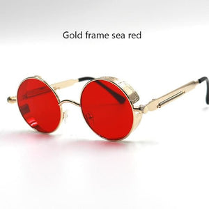 Gothic Steampunk Round Metal Sunglasses For Men Women Mirrored Circle Sun Glasses Brand Designer 6631 Gold Red
