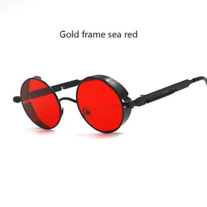 Gothic Steampunk Round Metal Sunglasses For Men Women Mirrored Circle Sun Glasses Brand Designer 6631 Black Red