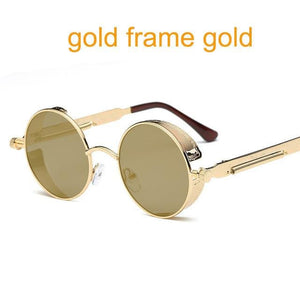 Gothic Steampunk Round Metal Sunglasses For Men Women Mirrored Circle Sun Glasses Brand Designer 6631 Gold F Gold