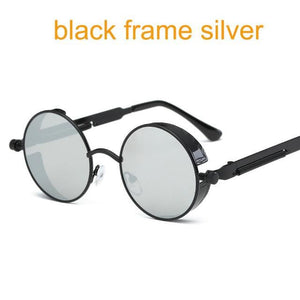 Gothic Steampunk Round Metal Sunglasses For Men Women Mirrored Circle Sun Glasses Brand Designer 6631 Black F Silver