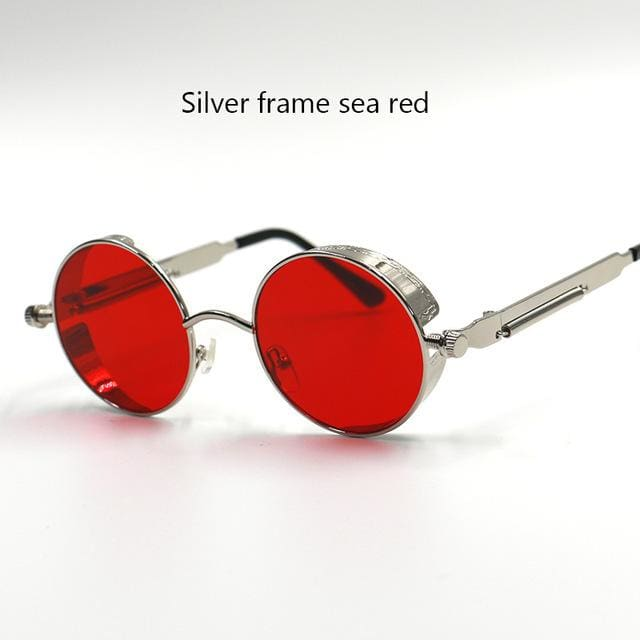 Gothic Steampunk Round Metal Sunglasses For Men Women Mirrored Circle Sun Glasses Brand Designer 6631 Silver Red