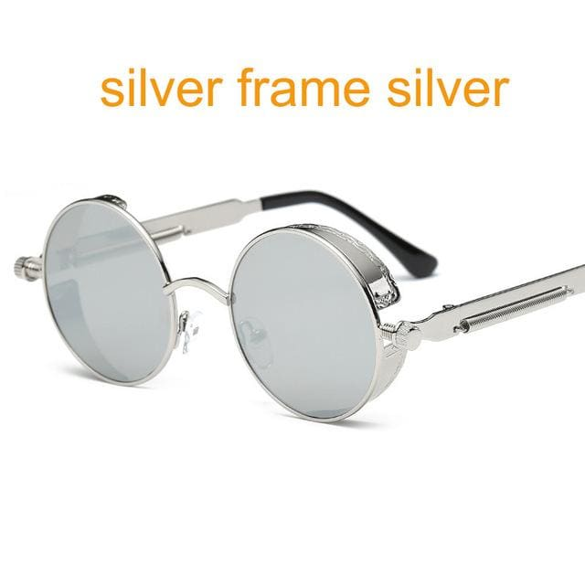 Gothic Steampunk Round Metal Sunglasses For Men Women Mirrored Circle Sun Glasses Brand Designer 6631 Silver F Sliver