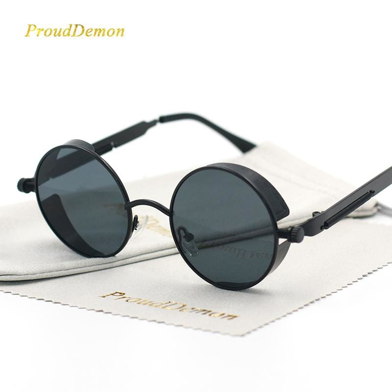 Gothic Steampunk Round Metal Sunglasses For Men Women Mirrored Circle Sun Glasses Brand Designer