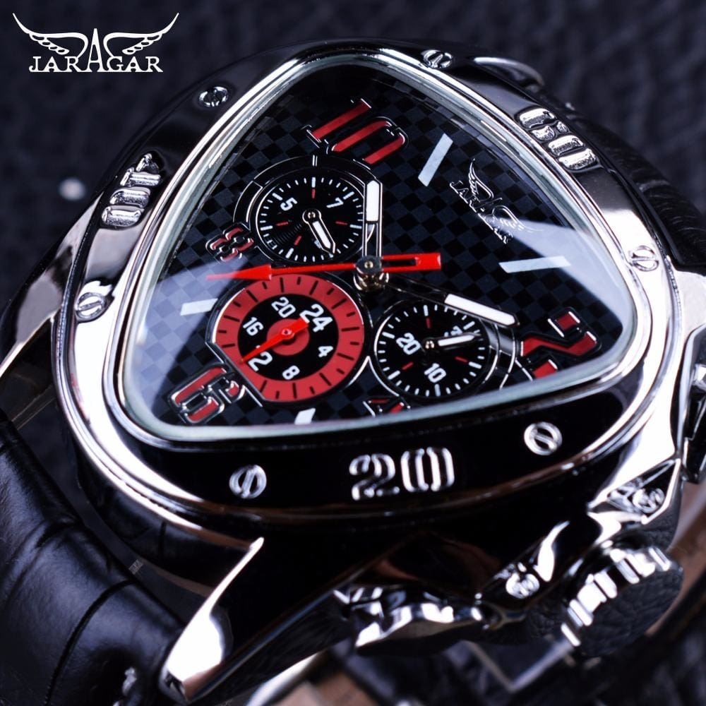 Jaragar Sport Racing Design Geometric Triangle Design Genuine Leather Strap Mens Watches Top Brand