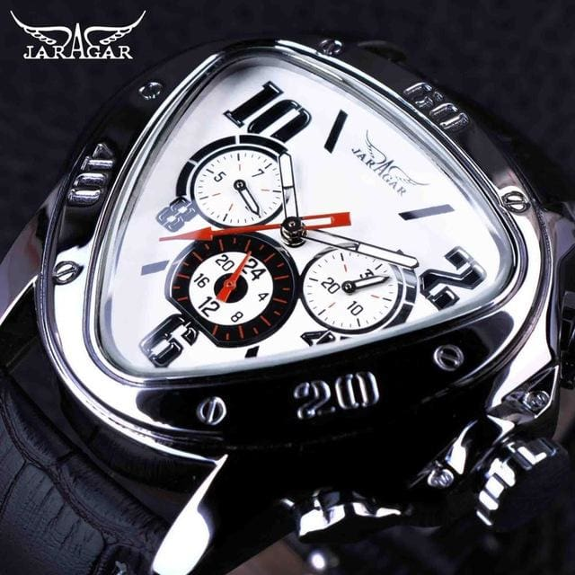 Jaragar Sport Racing Design Geometric Triangle Design Genuine Leather Strap Mens Watches Top Brand White