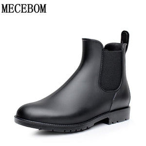 Men rubber rain boots fashion chelsea botas hombre casual slip-on waterproof ankle boots moccasins