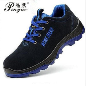 Men Work Safety Shoes Steel Toe Warm Breathable Mens Casual Boots Puncture Proof Labor Insurance Blue / 5