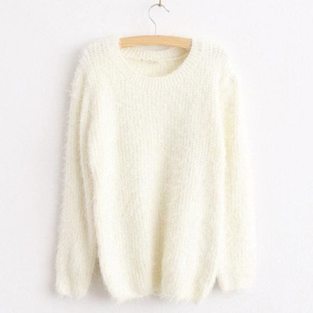 Mohair Pullover 2017 Autumn Winter Womens O-Neck Sweater Women Hedging Loose Pullover Casual White / One Size