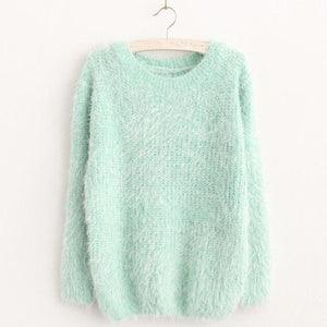 Mohair Pullover 2017 Autumn Winter Womens O-Neck Sweater Women Hedging Loose Pullover Casual Green / One Size
