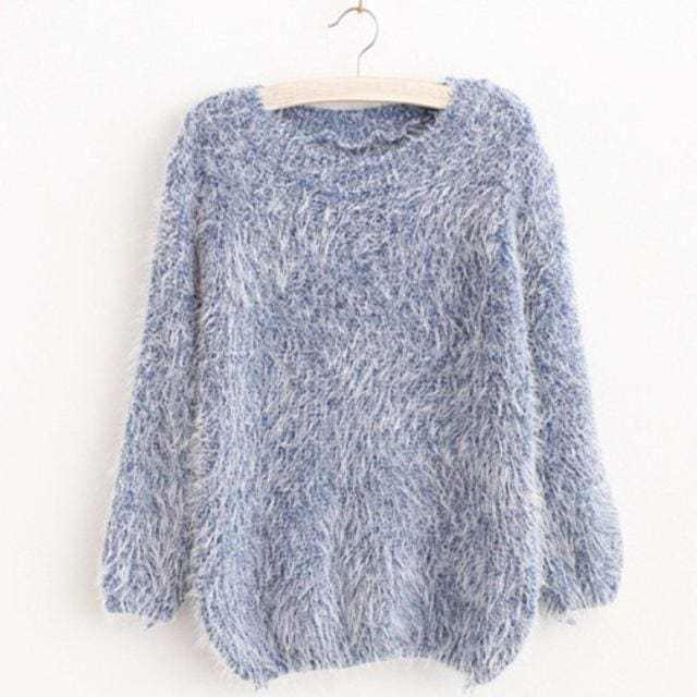 Mohair Pullover 2017 Autumn Winter Womens O-Neck Sweater Women Hedging Loose Pullover Casual Blue / One Size