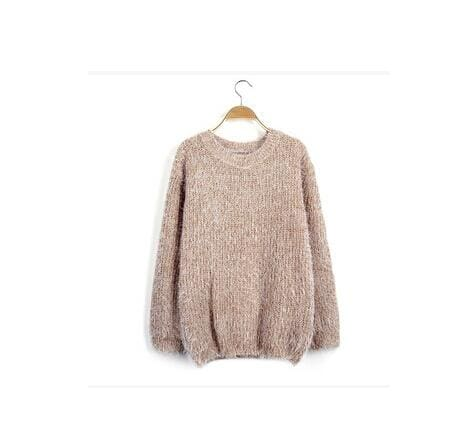 Mohair Pullover 2017 Autumn Winter Womens O-Neck Sweater Women Hedging Loose Pullover Casual Khaki / One Size