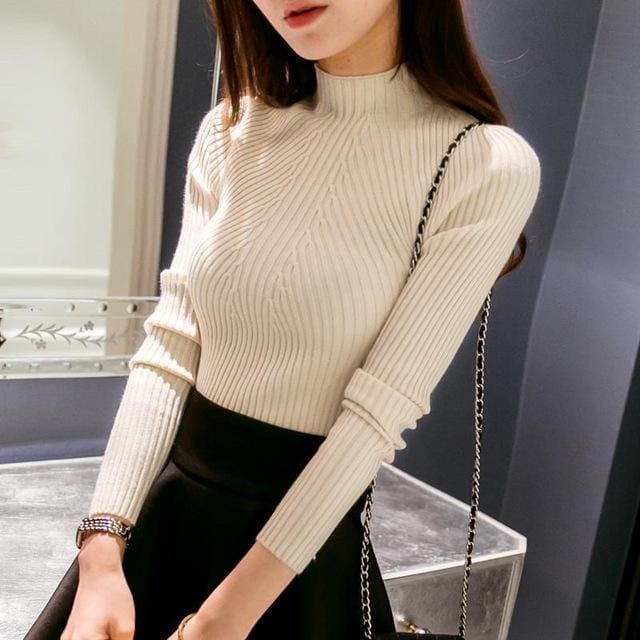 New 2017 Spring Fashion Women Sweater High Elastic Solid Turtleneck Sweater Women Slim Sexy Tight Beige / One Size