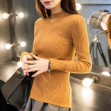 New 2017 Spring Fashion Women Sweater High Elastic Solid Turtleneck Sweater Women Slim Sexy Tight Turmeric / One Size