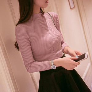 New 2017 Spring Fashion Women Sweater High Elastic Solid Turtleneck Sweater Women Slim Sexy Tight Purple / One Size