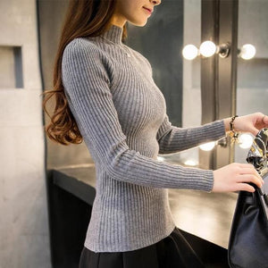New 2017 Spring Fashion Women Sweater High Elastic Solid Turtleneck Sweater Women Slim Sexy Tight Gray / One Size