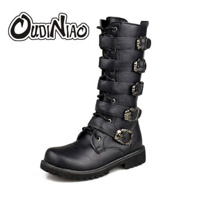 OUDINIAO Army Boots Men High Military Combat Boots Metal Buckle Punk Mid Calf Male Motorcycle Boots