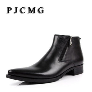 Pjcmg New Cowhide Boots Genuine Soft Leather Boots Pointed Toe Breathable Bullock Patterns Oxford