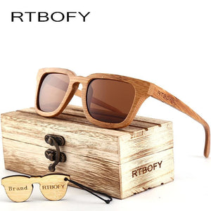 Rtbofy 2017 Wood Sunglasses Men Square Bamboo Sunglasses Vintage Wood Hd Lens Frame Handmade Sun