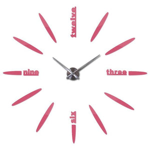 Sale New Wall Clock Clocks Watch Stickers Diy 3d Acrylic Mirror Home Decoration Quartz Pink / 47inch