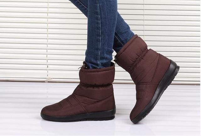 snow boots 2018 Winter warm waterproof women boots mother shoes casual cotton winter autumn boots CF1308W brown / 6