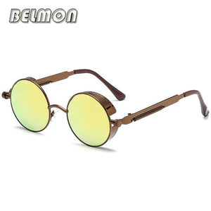 Steampunk Goggles Sunglasses Men Women Luxury Brand Round Sun Glasses For Ladies Retro Circle Rs291-C08