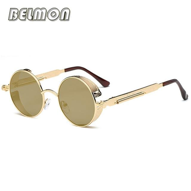 Steampunk Goggles Sunglasses Men Women Luxury Brand Round Sun Glasses For Ladies Retro Circle Rs291-C04